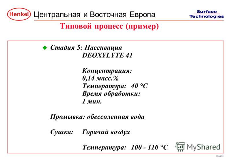 Центральная и Восточная Европа Page 31 u Стадия 5: Пассивация DEOXYLYTE 41 Концентрация: 0,14 масс.% Температура:40 °C Время обработки: 1 мин. Промывка: обессоленная вода Сушка:Горячий воздух Температура:100 - 110 °C Типовой процесс (пример)