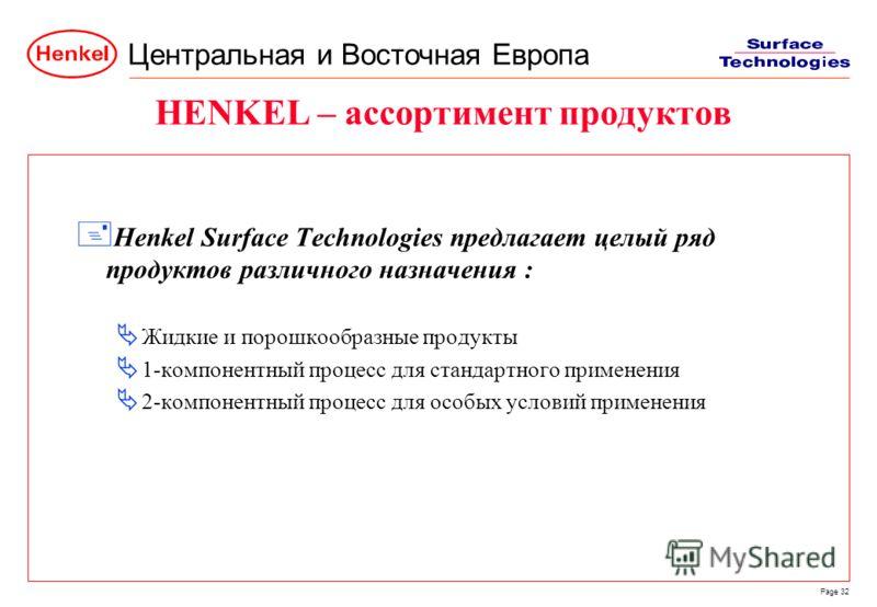 Центральная и Восточная Европа Page 32 HENKEL – ассортимент продуктов + Henkel Surface Technologies предлагает целый ряд продуктов различного назначения : Жидкие и порошкообразные продукты 1-компонентный процесс для стандартного применения 2-компонен