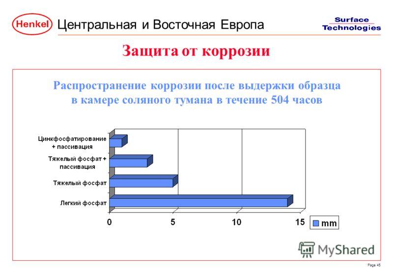 Центральная и Восточная Европа Page 45 Защита от коррозии Распространение коррозии после выдержки образца в камере соляного тумана в течение 504 часов