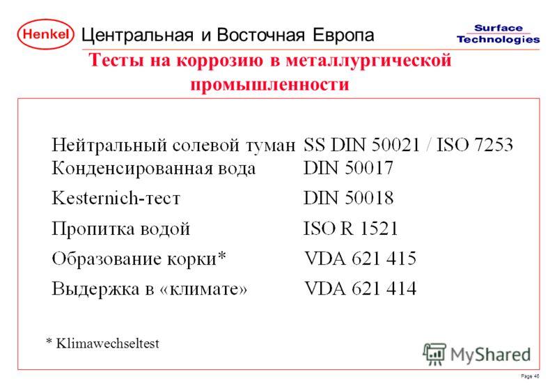Центральная и Восточная Европа Page 46 Тесты на коррозию в металлургической промышленности * Klimawechseltest