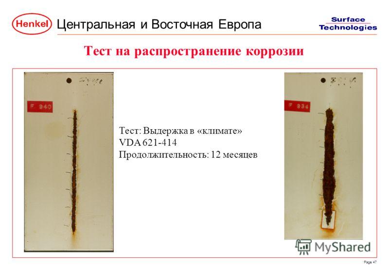 Центральная и Восточная Европа Page 47 Тест на распространение коррозии Тест: Выдержка в «климате» VDA 621-414 Продолжительность: 12 месяцев