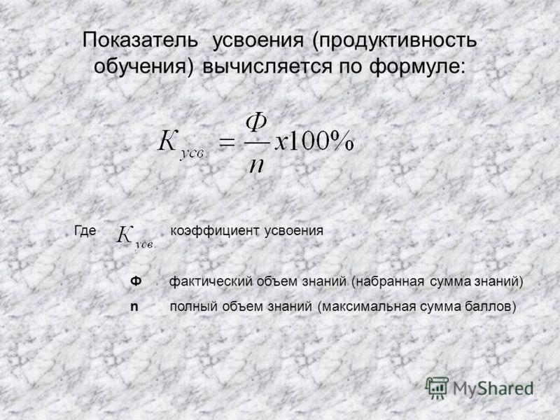 Показатель усвоения (продуктивность обучения) вычисляется по формуле: Где коэффициент усвоения Ф фактический объем знаний (набранная сумма знаний) n полный объем знаний (максимальная сумма баллов)