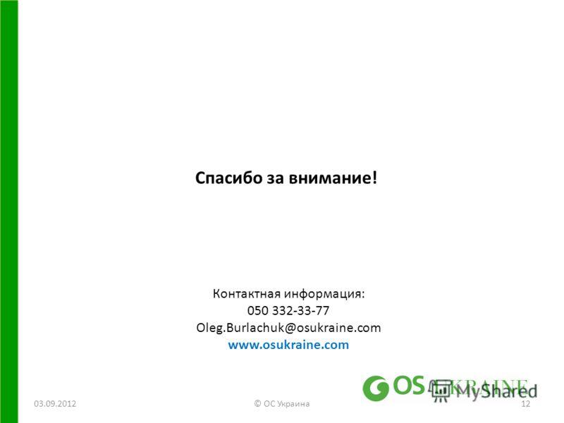 03.09.2012© ОС Украина12 Спасибо за внимание! Контактная информация: 050 332-33-77 Oleg.Burlachuk@osukraine.com www.osukraine.com