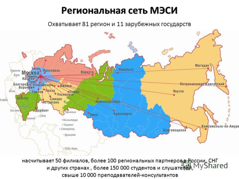 Региональная сеть МЭСИ Охватывает 81 регион и 11 зарубежных государств насчитывает 50 филиалов, более 100 региональных партнеров в России, СНГ и других странах, более 150 000студентов и слушателей, свыше 10 000 преподавателей-консультантов и других с