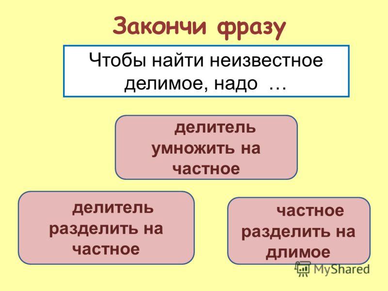 делитель умножить на частное делитель разделить на частное разделить на длимое Закончи фразу Чтобы найти неизвестное делимое, надо …