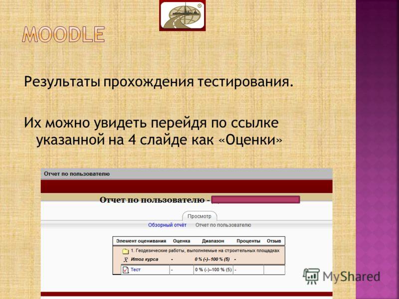 Результаты прохождения тестирования. Их можно увидеть перейдя по ссылке указанной на 4 слайде как «Оценки»