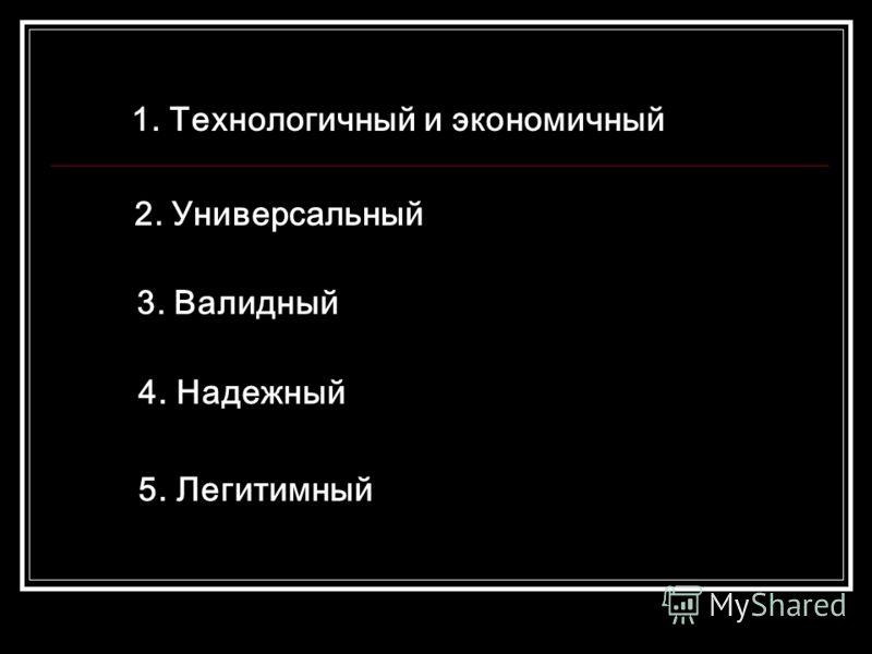 1. Технологичный и экономичный 2. Универсальный 3. Валидный 4. Надежный 5. Легитимный