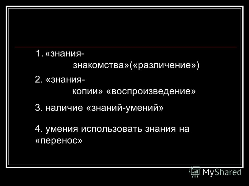 1.«знания- знакомства»(«различение») 2. «знания- копии» «воспроизведение» 3. наличие «знаний-умений» 4. умения использовать знания на «перенос»