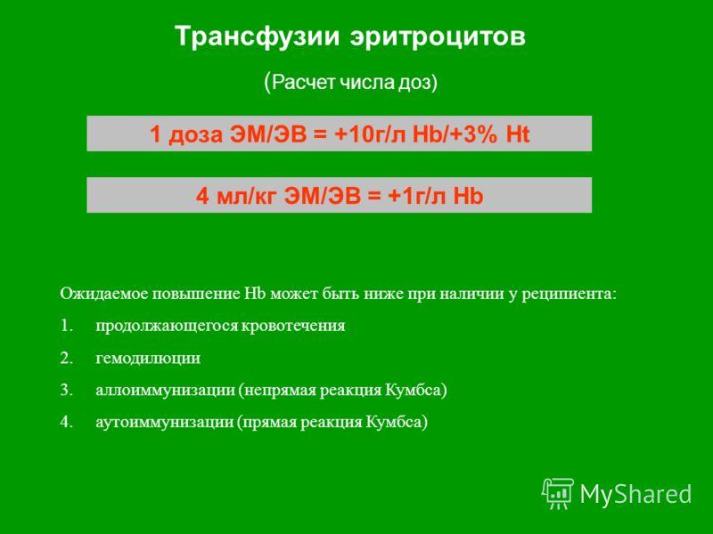 Трансфузии эритроцитов ( Расчет числа доз) 1 доза ЭМ/ЭВ = +10г/л Hb/+3% Ht 4 мл/кг ЭМ/ЭВ = +1г/л Hb Ожидаемое повышение Hb может быть ниже при наличии у реципиента: 1.продолжающегося кровотечения 2.гемодилюции 3.аллоиммунизации (непрямая реакция Кумб