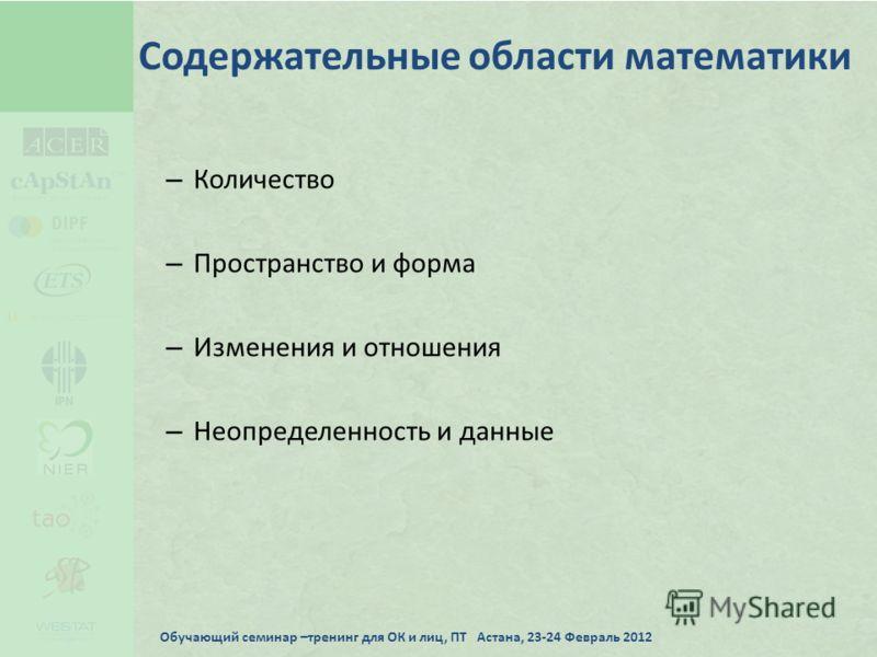Содержательные области математики – Количество – Пространство и форма – Изменения и отношения – Неопределенность и данные