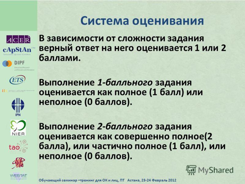 Система оценивания В зависимости от сложности задания верный ответ на него оценивается 1 или 2 баллами. Выполнение 1-балльного задания оценивается как полное (1 балл) или неполное (0 баллов). Выполнение 2-балльного задания оценивается как совершенно