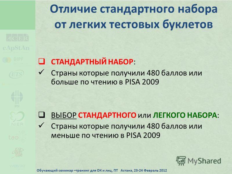 Отличие стандартного набора от легких тестовых буклетов СТАНДАРТНЫЙ НАБОР: Страны которые получили 480 баллов или больше по чтению в PISA 2009 ВЫБОР СТАНДАРТНОГО или ЛЕГКОГО НАБОРА: Страны которые получили 480 баллов или меньше по чтению в PISA 2009