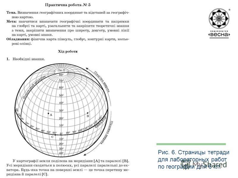 Структура посібника Рис. 6. Страницы тетради для лабораторных работ по географии для 6 кл.