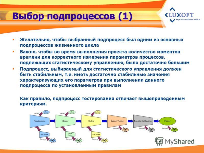Выбор подпроцессов (1) Желательно, чтобы выбранный подпроцесс был одним из основных подпроцессов жизненного цикла Важно, чтобы во время выполнения проекта количество моментов времени для корректного измерения параметров процессов, подлежащих статисти