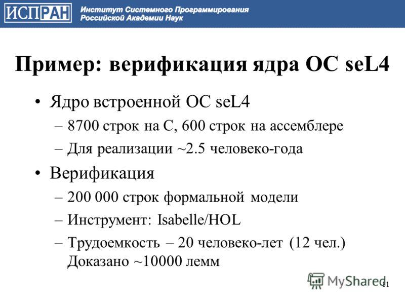 Пример: верификация ядра ОС seL4 Ядро встроенной ОС seL4 –8700 строк на C, 600 строк на ассемблере –Для реализации ~2.5 человеко-года Верификация –200 000 строк формальной модели –Инструмент: Isabelle/HOL –Трудоемкость – 20 человеко-лет (12 чел.) Док