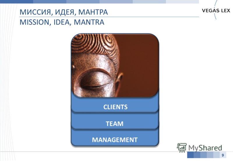 МИССИЯ, ИДЕЯ, МАНТРА MISSION, IDEA, MANTRA 9 MANAGEMENT TEAM CLIENTS