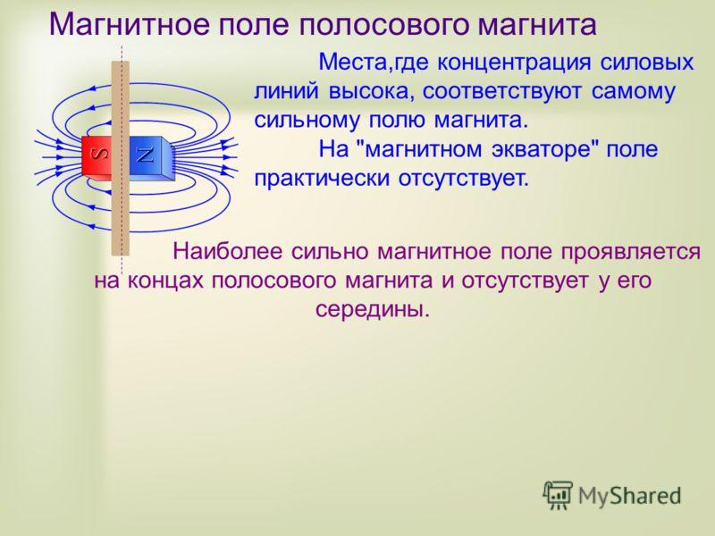 Магнитное поле полосового магнита Места,где концентрация силовых линий высока, соответствуют самому сильному полю магнита. На