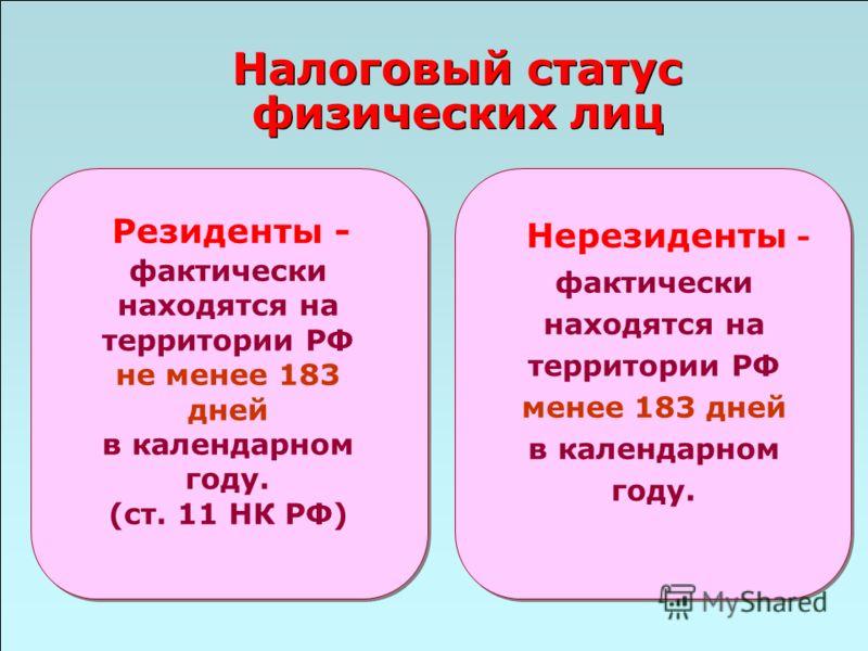 49 Налоговый статус физических лиц Нерезиденты - фактически находятся на территории РФ менее 183 дней в календарном году. Резиденты - фактически наход