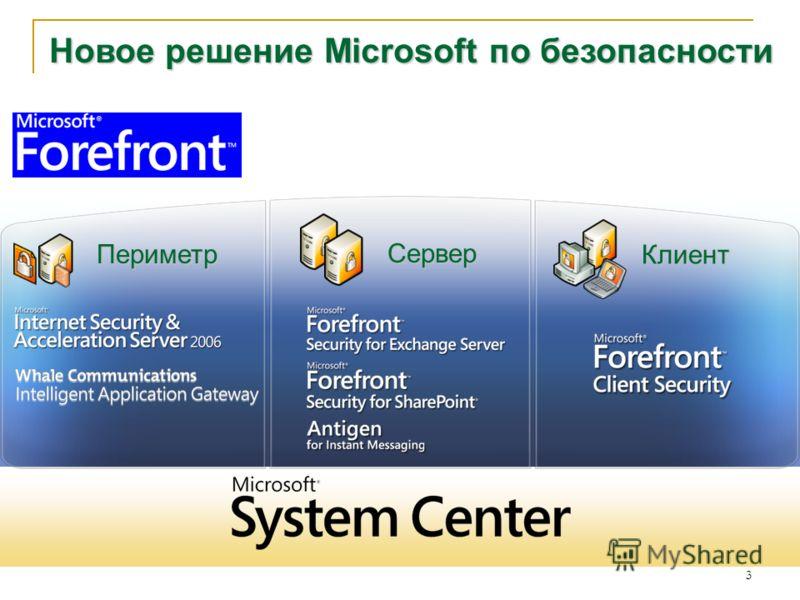 3 Microsoft Forefront Периметр Клиент Сервер Новое решение Microsoft по безопасности
