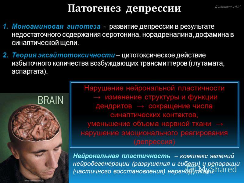 Патогенез депрессии 1.Моноаминовая гипотеза - развитие депрессии в результате недостаточного содержания серотонина, норадреналина, дофамина в синаптической щели. 2.Теория эксайтотоксичности – цитотоксическое действие избыточного количества возбуждающ
