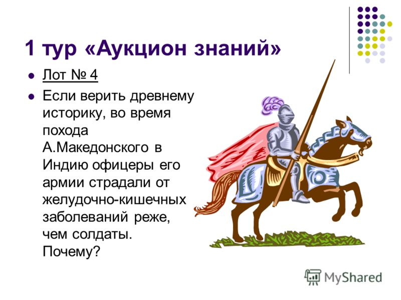 1 тур «Аукцион знаний» Лот 4 Если верить древнему историку, во время похода А.Македонского в Индию офицеры его армии страдали от желудочно-кишечных заболеваний реже, чем солдаты. Почему?