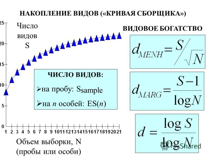 Число видов S Объем выборки, N (пробы или особи) НАКОПЛЕНИЕ ВИДОВ («КРИВАЯ СБОРЩИКА») ВИДОВОЕ БОГАТСТВО ЧИСЛО ВИДОВ: на пробу: S sample на n особей: ES(n)