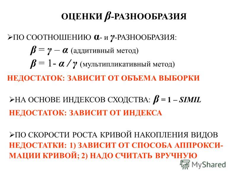 ОЦЕНКИ β -РАЗНООБРАЗИЯ ПО СООТНОШЕНИЮ α - и γ -РАЗНООБРАЗИЯ: β = γ – α (аддитивный метод) β = 1- α / γ (мультипликативный метод) НЕДОСТАТОК: ЗАВИСИТ ОТ ОБЪЕМА ВЫБОРКИ НА ОСНОВЕ ИНДЕКСОВ СХОДСТВА: β = 1 – SIMIL НЕДОСТАТОК: ЗАВИСИТ ОТ ИНДЕКСА ПО СКОРОС