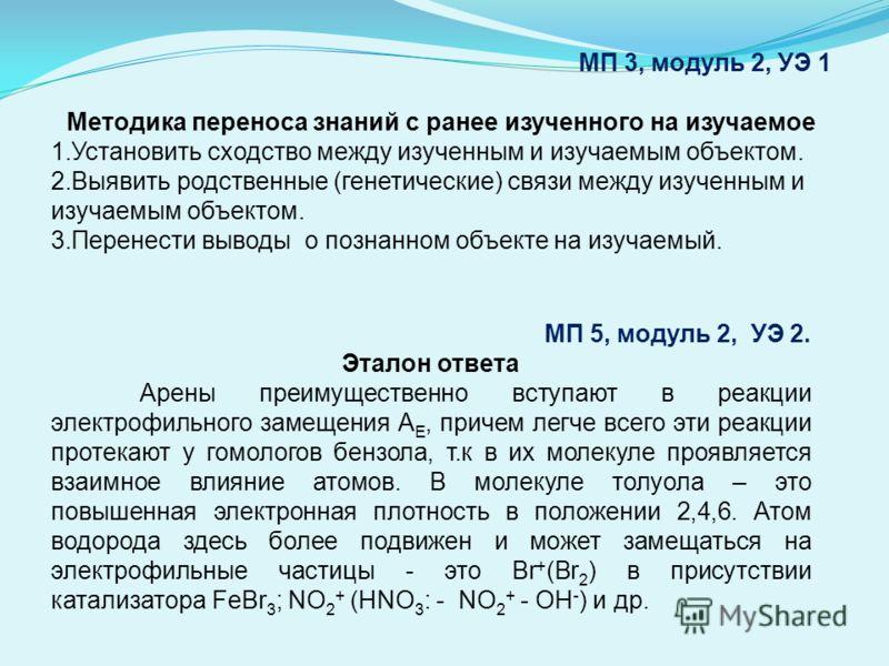МП 3, модуль 2, УЭ 1 Методика переноса знаний с ранее изученного на изучаемое 1.Установить сходство между изученным и изучаемым объектом. 2.Выявить родственные (генетические) связи между изученным и изучаемым объектом. 3.Перенести выводы о познанном