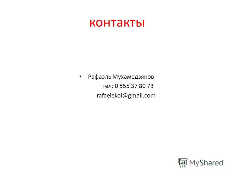 контакты Рафаэль Мухамедзянов тел: 0 555 37 80 73 rafaelekol@gmail.com