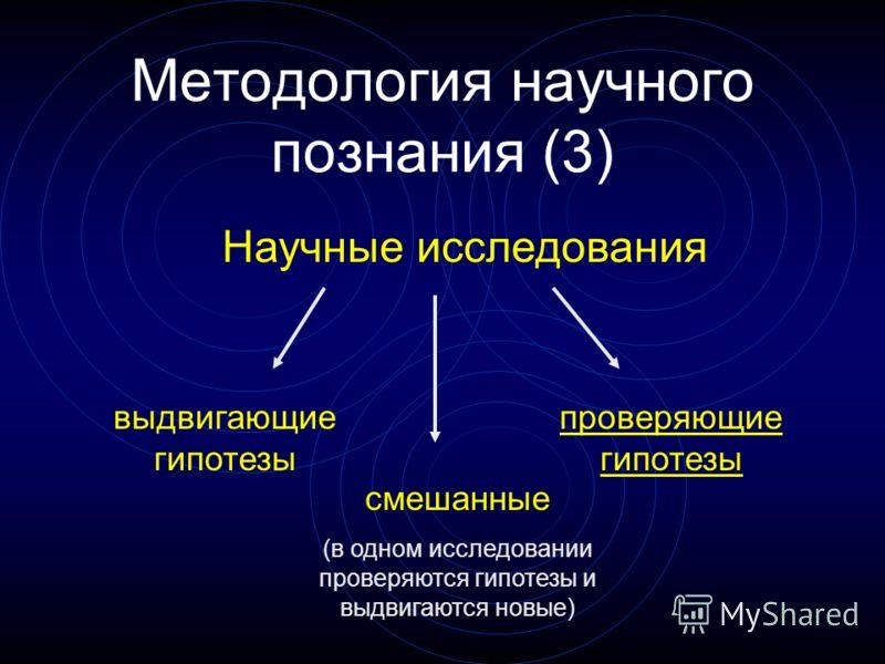 Методология научного познания (3) Научные исследования выдвигающие гипотезы проверяющие гипотезы смешанные (в одном исследовании проверяются гипотезы и выдвигаются новые)