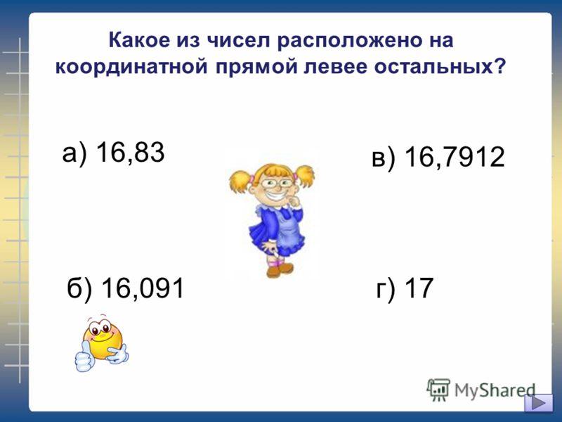Какое из чисел расположено на координатной прямой левее остальных? а) 16,83 б) 16,091 в) 16,7912 г) 17