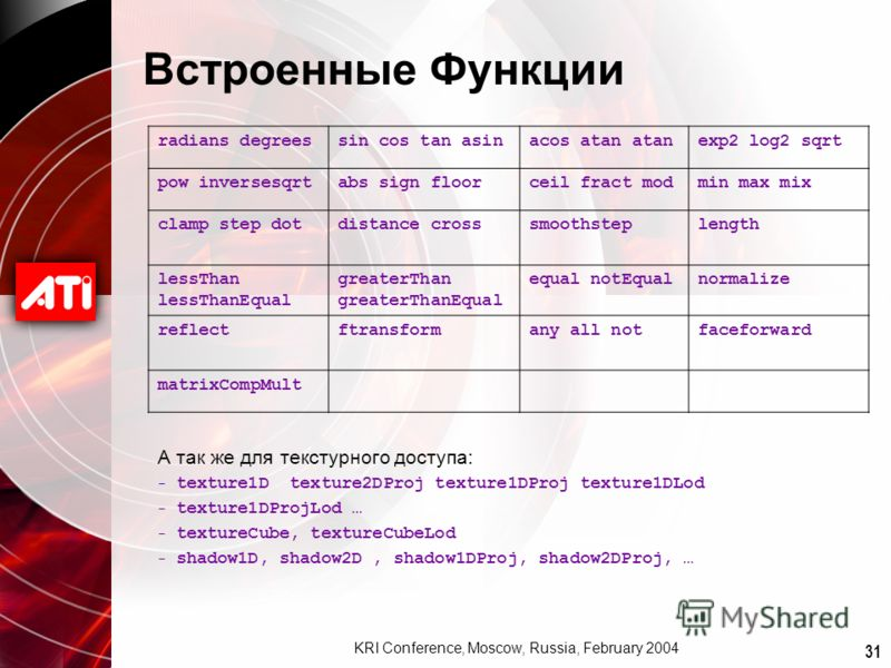 31 KRI Conference, Moscow, Russia, February 2004 Встроенные Функции radians degreessin cos tan asinacos atan atanexp2 log2 sqrt pow inversesqrtabs sign floorceil fract modmin max mix clamp step dotdistance crosssmoothsteplength lessThan lessThanEqual