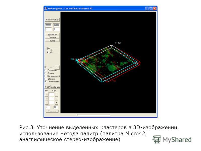 Рис.3. Уточнение выделенных кластеров в 3D-изображении, использование метода палитр (палитра Micro42, анаглифическое стерео-изображение)