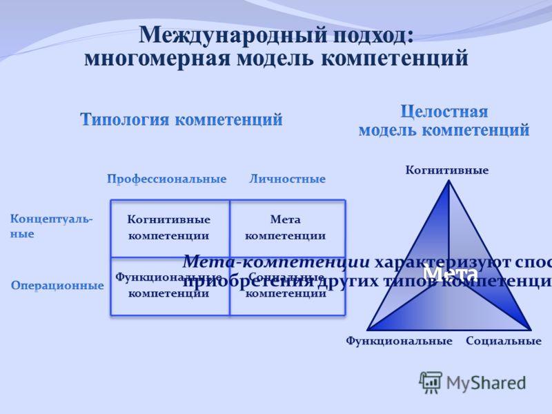 Мета-компетенции характеризуют способность приобретения других типов компетенций