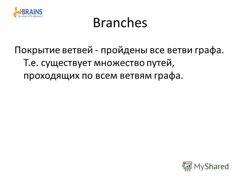 Branches Покрытие ветвей - пройдены все ветви графа. Т.е. существует множество путей, проходящих по всем ветвям графа.
