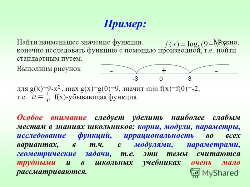 Пример: Найти наименьшее значение функции. Можно, конечно исследовать функцию с помощью производной, т.е. пойти стандартным путем. Выполним рисунок для g(x)=9-x 2, max g(x)=g(0)=9, значит min f(x)=f(0)=-2, т.е. ; f(x)-убывающая функция. Особое вниман