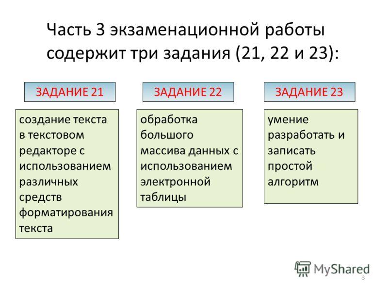 Часть 3 экзаменационной работы содержит три задания (21, 22 и 23): создание текста в текстовом редакторе с использованием различных средств форматирования текста ЗАДАНИЕ 21 обработка большого массива данных с использованием электронной таблицы ЗАДАНИ