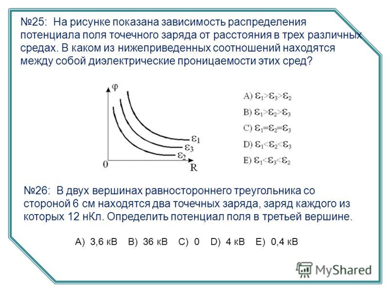 26: В двух вершинах равностороннего треугольника со стороной 6 см находятся два точечных заряда, заряд каждого из которых 12 нКл. Определить потенциал поля в третьей вершине. А) 3,6 кВ B) 36 кВ C) 0 D) 4 кВ E) 0,4 кВ 25: На рисунке показана зависимос