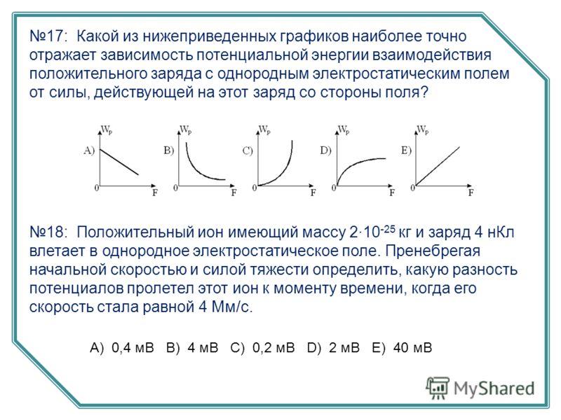 17: Какой из нижеприведенных графиков наиболее точно отражает зависимость потенциальной энергии взаимодействия положительного заряда с однородным электростатическим полем от силы, действующей на этот заряд со стороны поля? 18: Положительный ион имеющ