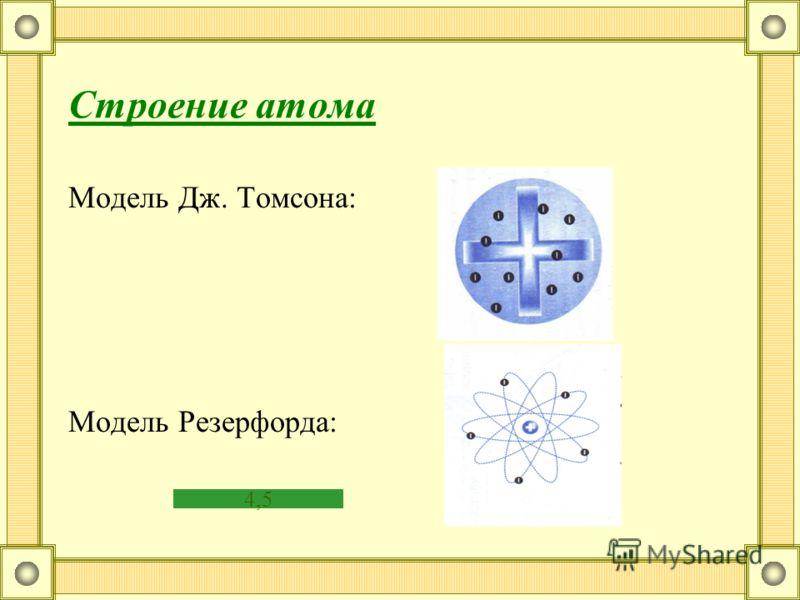 Строение атома Модель Дж. Томсона: Модель Резерфорда: 4,5