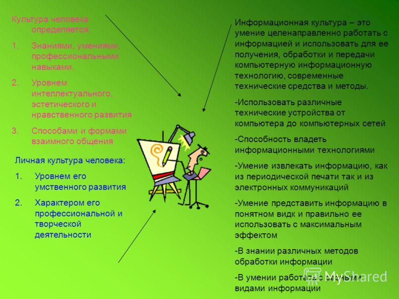 Культура человека определяется: 1.Знаниями, умениями, профессиональными навыками. 2.Уровнем интеллектуального, эстетического и нравственного развития 3.Способами и формами взаимного общения Личная культура человека: 1.Уровнем его умственного развития