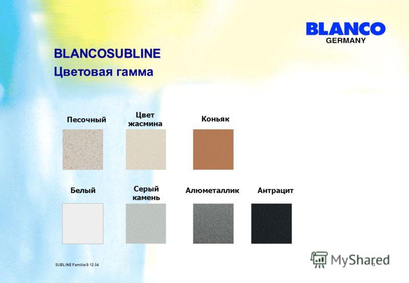 SUBLINE Familie/9.12.0413 BLANCOSUBLINE Цветовая гамма Песочный АлюметалликАнтрацит Серый камень Цвет жасмина Белый Коньяк