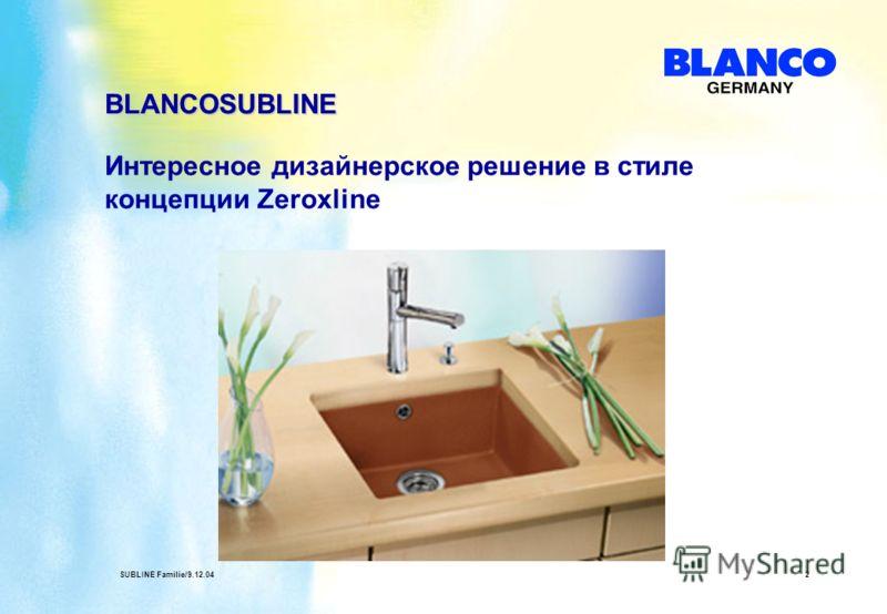 SUBLINE Familie/9.12.042 Интересное дизайнерское решение в стиле концепции Zeroxline BLANCOSUBLINE