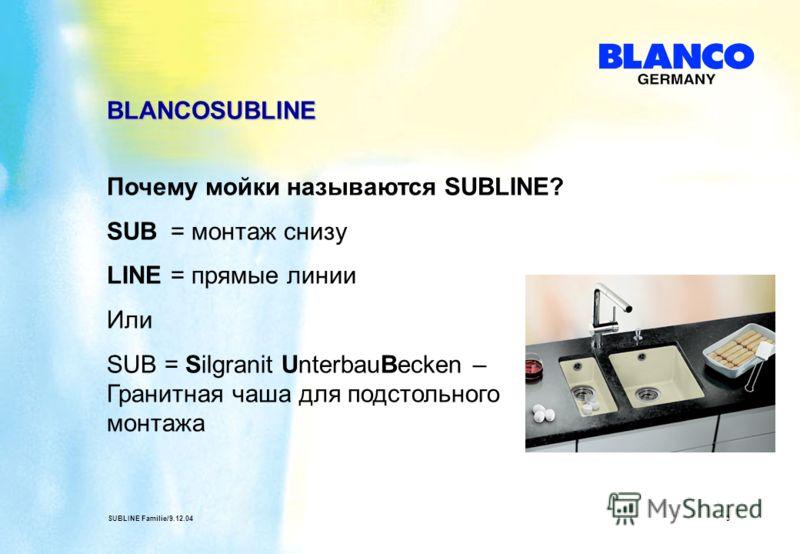 SUBLINE Familie/9.12.043 BLANCOSUBLINE Почему мойки называются SUBLINE? SUB = монтаж снизу LINE= прямые линии Или SUB = Silgranit UnterbauBecken – Гранитная чаша для подстольного монтажа