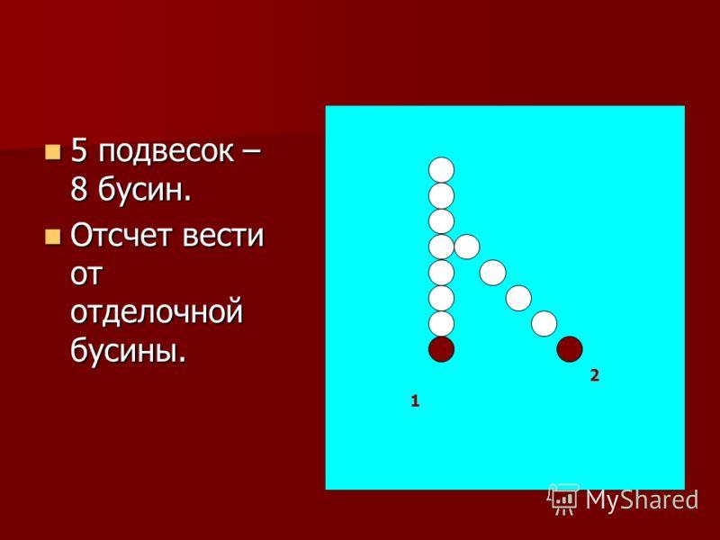 5 подвесок – 8 бусин. 5 подвесок – 8 бусин. Отсчет вести от отделочной бусины. Отсчет вести от отделочной бусины. 1 2
