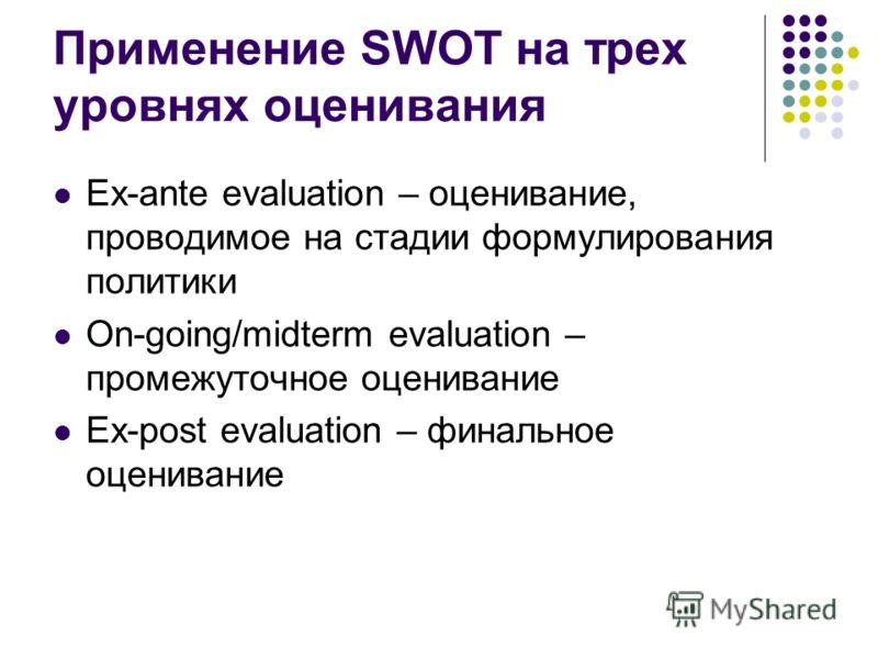 Применение SWOT на трех уровнях оценивания Ex-ante evaluation – оценивание, проводимое на стадии формулирования политики On-going/midterm evaluation – промежуточное оценивание Ex-post evaluation – финальное оценивание