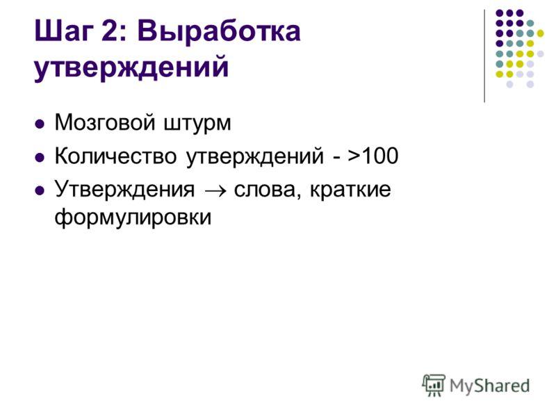 Шаг 2: Выработка утверждений Мозговой штурм Количество утверждений - >100 Утверждения слова, краткие формулировки