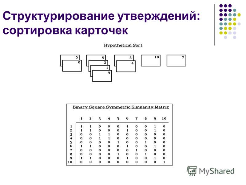 Структурирование утверждений: сортировка карточек