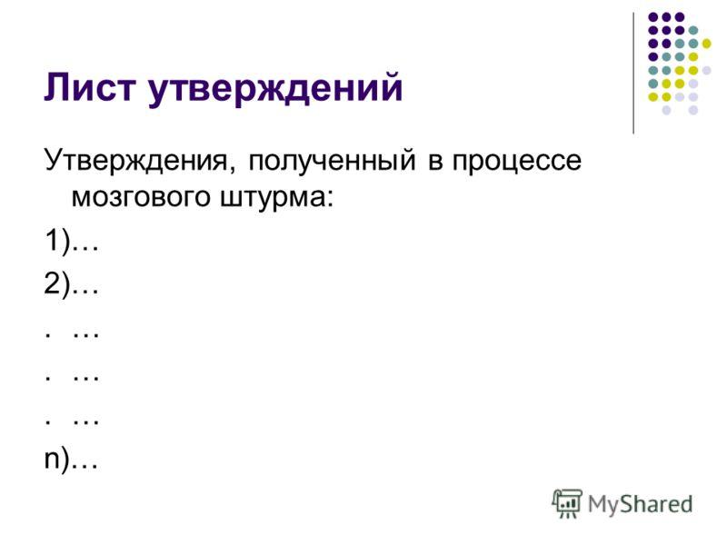 Лист утверждений Утверждения, полученный в процессе мозгового штурма: 1)… 2)….… n)…