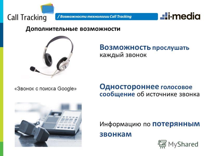 Дополнительные возможности «Звонок с поиска Google» Возможность прослушать каждый звонок Одностороннее голосовое сообщение об источнике звонка Информацию по потерянным звонкам / Возможности технологии Call Tracking